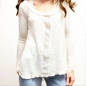 Free People Womens Cream High Low Sweater XS